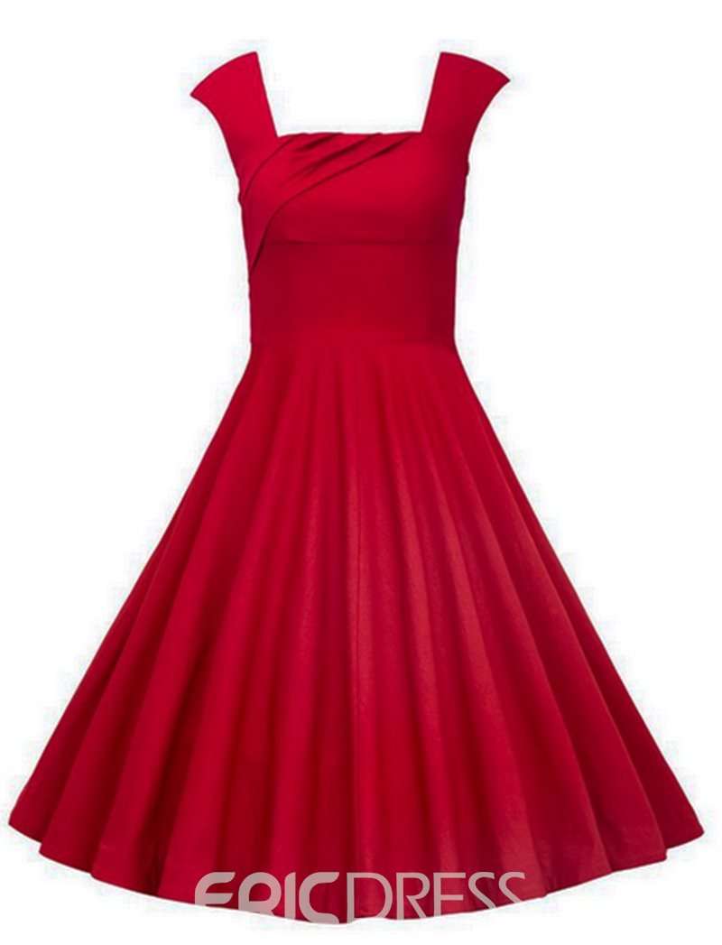 Ericdress Knee-Length Straps Red A-Line Cocktail Dress