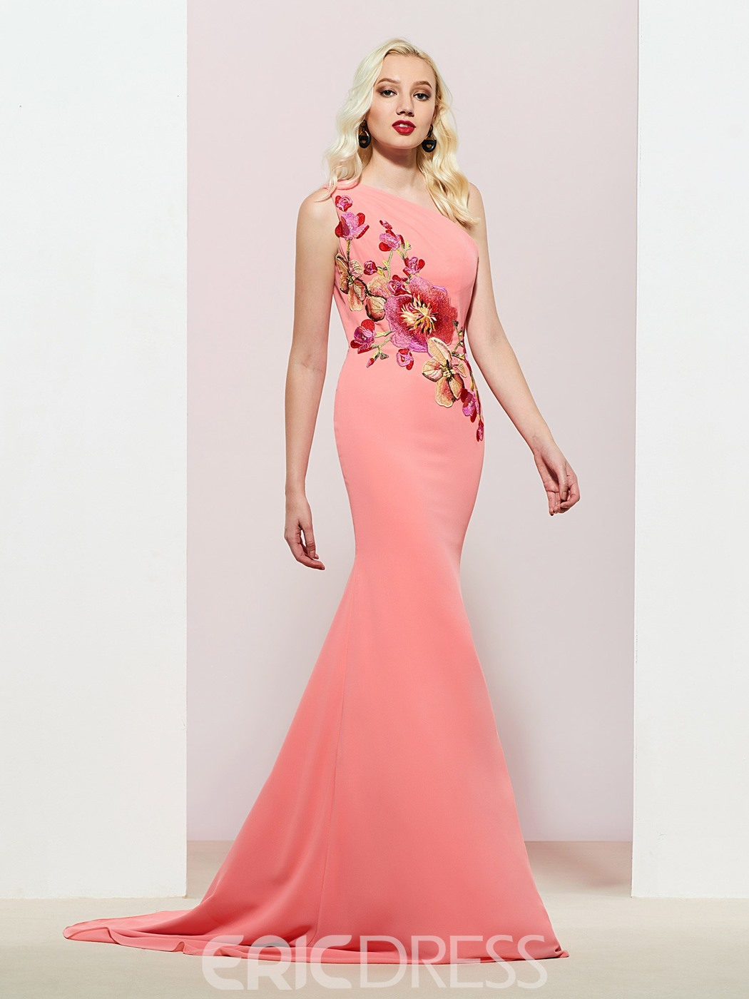Ericdress One Shoulder Embroidery Mermaid Evening Dress