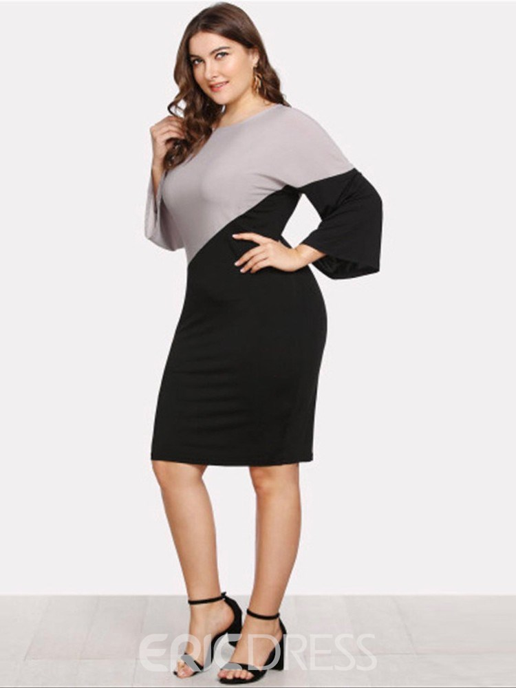 Ericdress Color Block Round Neck Patchwork Going Out Pencil Dress