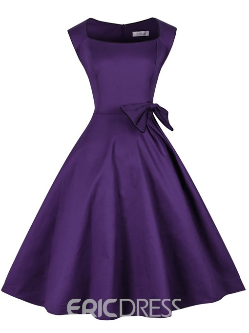 Ericdress A-Line Square Purple Knee-Length Cocktail Dress 2019
