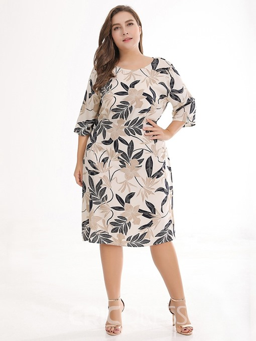 Ericdress Plus Size Three-Quarter Sleeve Print Round Neck Casual Dress