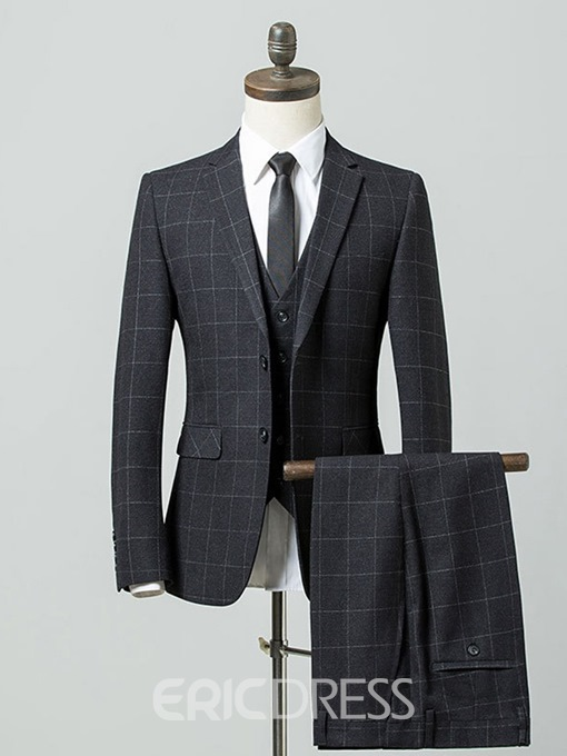 Ericdress Plaid Pocket 3 Pieces Single-Breasted Mens Dress Suit