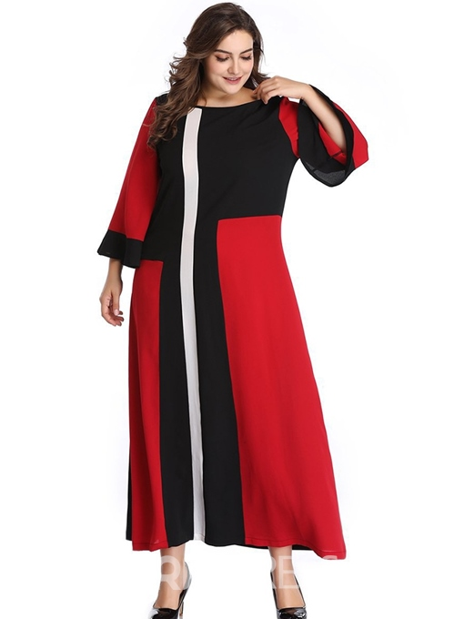 Ericdress Plus Size Patchwork Nine Points Sleeve Round Neck Color Block Travel Look Dress
