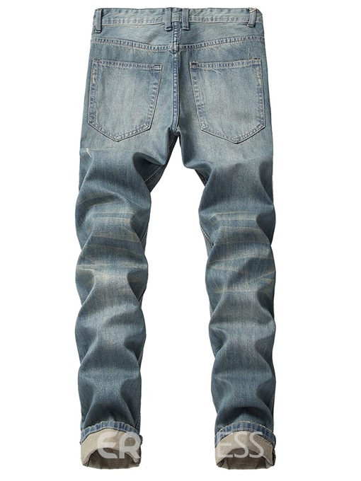 Ericdress Plain Straight Mid-Waist Mens Ripped Jeans