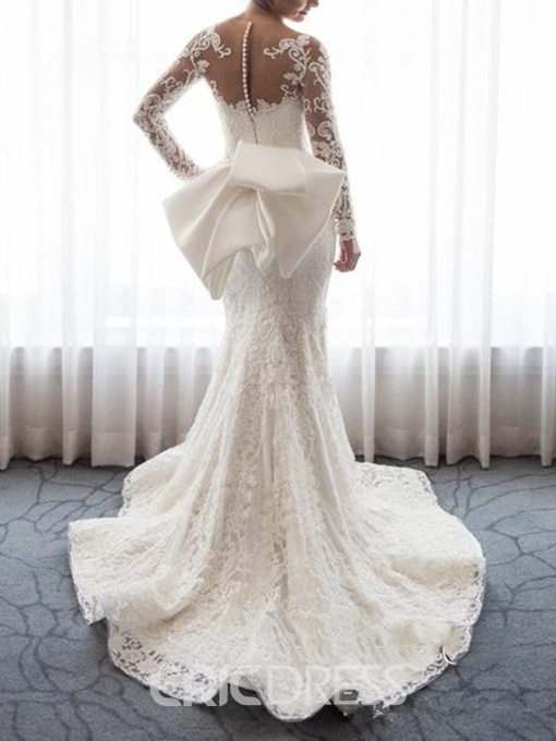 Ericdress Long Sleeves Bowknot Mermaid Wedding Dress