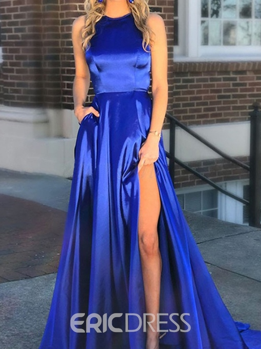 Split-Front Scoop A-Line Floor-Length Prom Dress