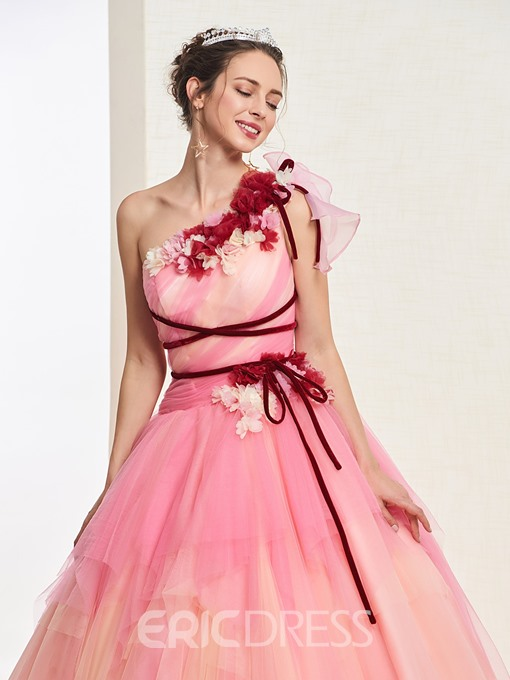 3D Flowers Sashes One Shoulder Quinceanera Dress