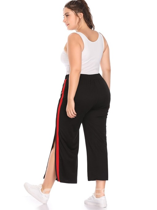 Ericdress Plus Size Patchwork Loose Color Block Wide Legs Casual Pants