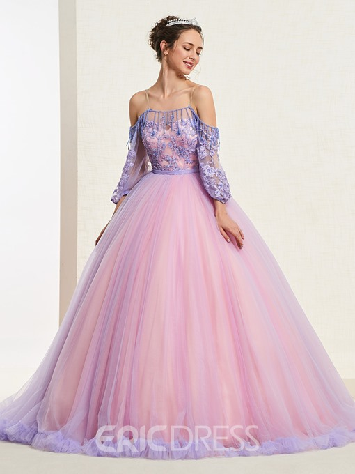 Ball Gown Appliques Beading Off-The-Shoulder Quinceanera Dress