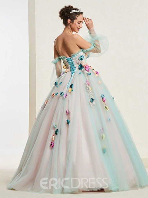 Flowers Long Sleeves Ball Gown Quinceanera Dress