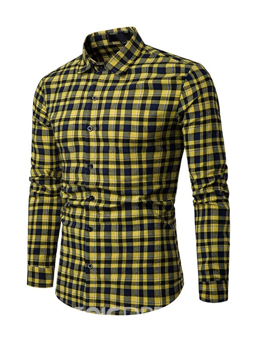 Ericdress Plaid Lapel Button Up Mens Slim Single-Breasted Shirt