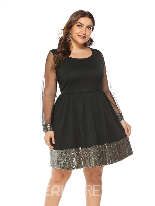 Ericdress Plus Size Knee-Length Mesh Date Night Color Block Dress
