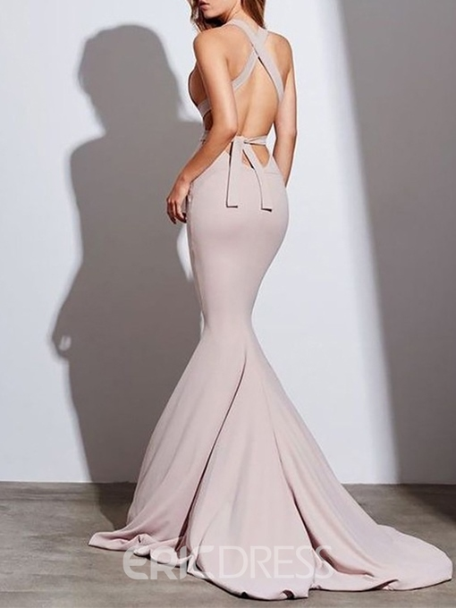 Hollow V-Neck Sleeveless Mermaid Evening Dress