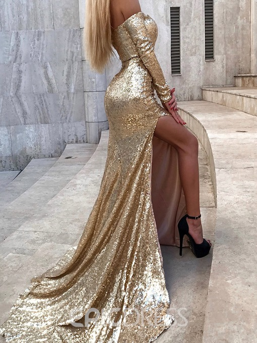 Ericdress Split-Front Sequin Mermaid Evening Dress 2019