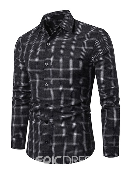 Ericdress Plaid Lapel Slim Single-Breasted Mens Shirt
