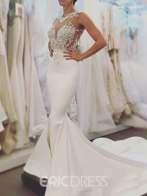 Ericdress Appliques Backless Mermaid Wedding Dress 2019