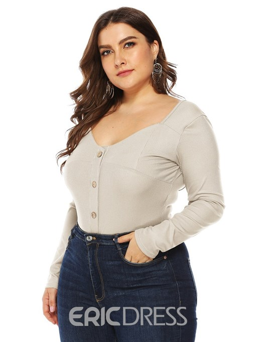 Ericdress Plus Size Button Plain Slim Bodysuit