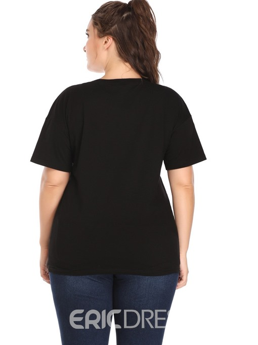 Ericdress Character Mid-Length Round Neck Plus Size T-Shirt