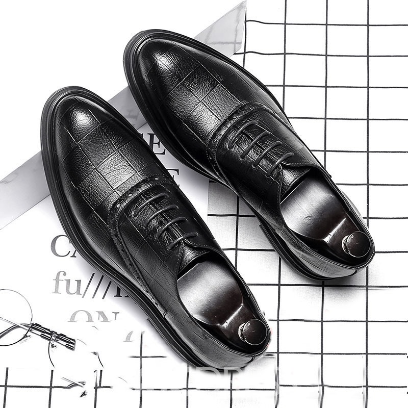 Ericdress Plain Pointed Toe Lace-Up Men's Dress Shoes