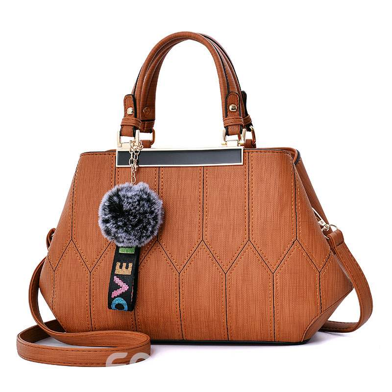Ericdress Quilted Lining PU Thread Plaid Tote Bags