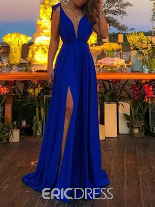 A-Line Split-Front Floor-Length Sleeveless Prom Dress