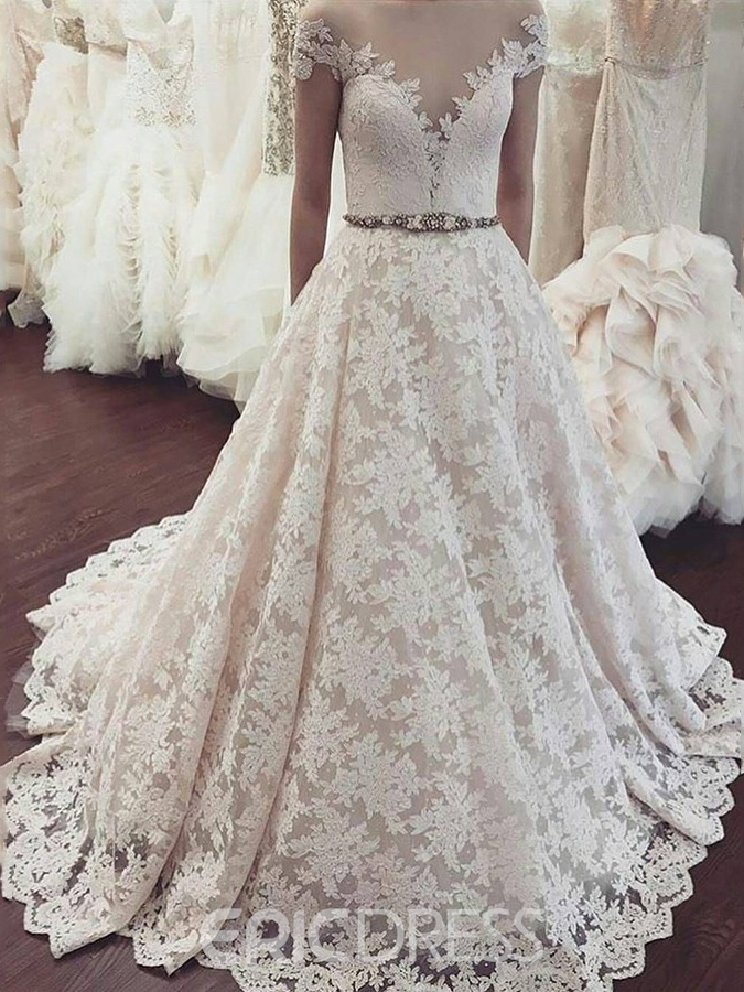 Ericdress Cap Sleeves Off-The-Shoulder Lace Wedding Dress 2019