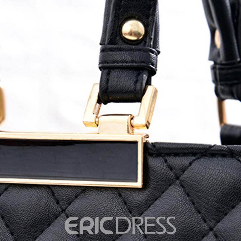 Ericdress Quilted Lining PU Plaid Tote Bags