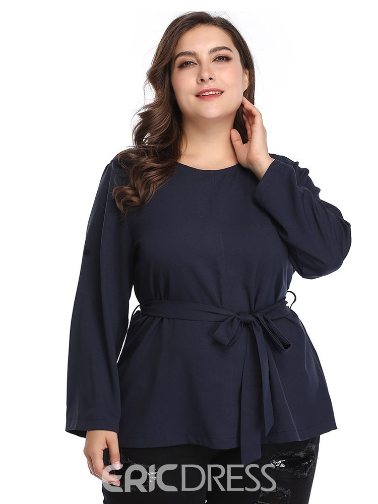 Ericdress Lace-Up Round Neck Plus Size Blouse