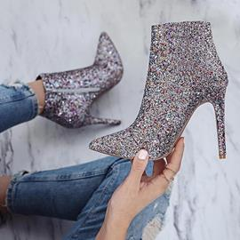 Ericdress Sequin Side Zipper Stiletto Heel Women's Ankle Boots