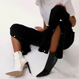 Ericdress Color Block Pointed Toe Stiletto Heel Women's Ankle Boots