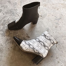 Ericdress Serpentine Back Zip Square Toe Chunky Heel Womne's Boots