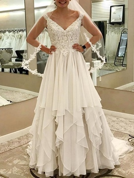 Ericdress A-Line Sleeveless V-Neck Hall Wedding Dress