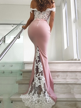 Ericdress V-Neck Floor-Length Appliques Mermaid Evening Dress