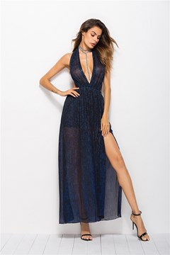 Ericdress Sleeveless V-Neck Split Halter A-Line Dress