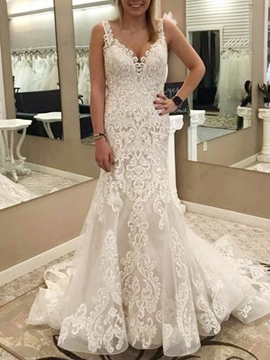 Ericdress Straps Lace Hall Mermaid Wedding Dress