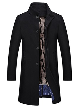 Ericdress Plain Stand Collar Mid-Length Slim Mens Wool Coat
