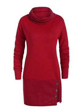 Ericdress Regular Plain Button Mid-Length Thick Hoodie
