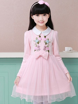 Ericdress Embroidery Bowknot Girl's Casual Dresses