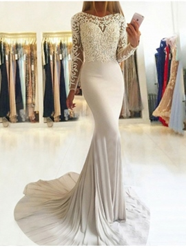 Ericdress Long Sleeves Appliques Mermaid Evening Dress