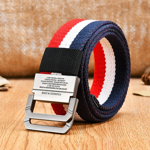 Ericdress Stripe Double Loop Fastener Canvas Belt