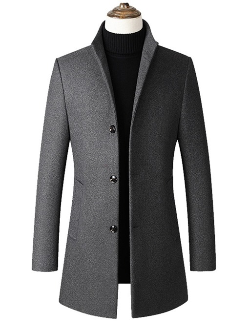 Ericdress Plain Stand Collar Mid-Length Mens Slim Wool Coat