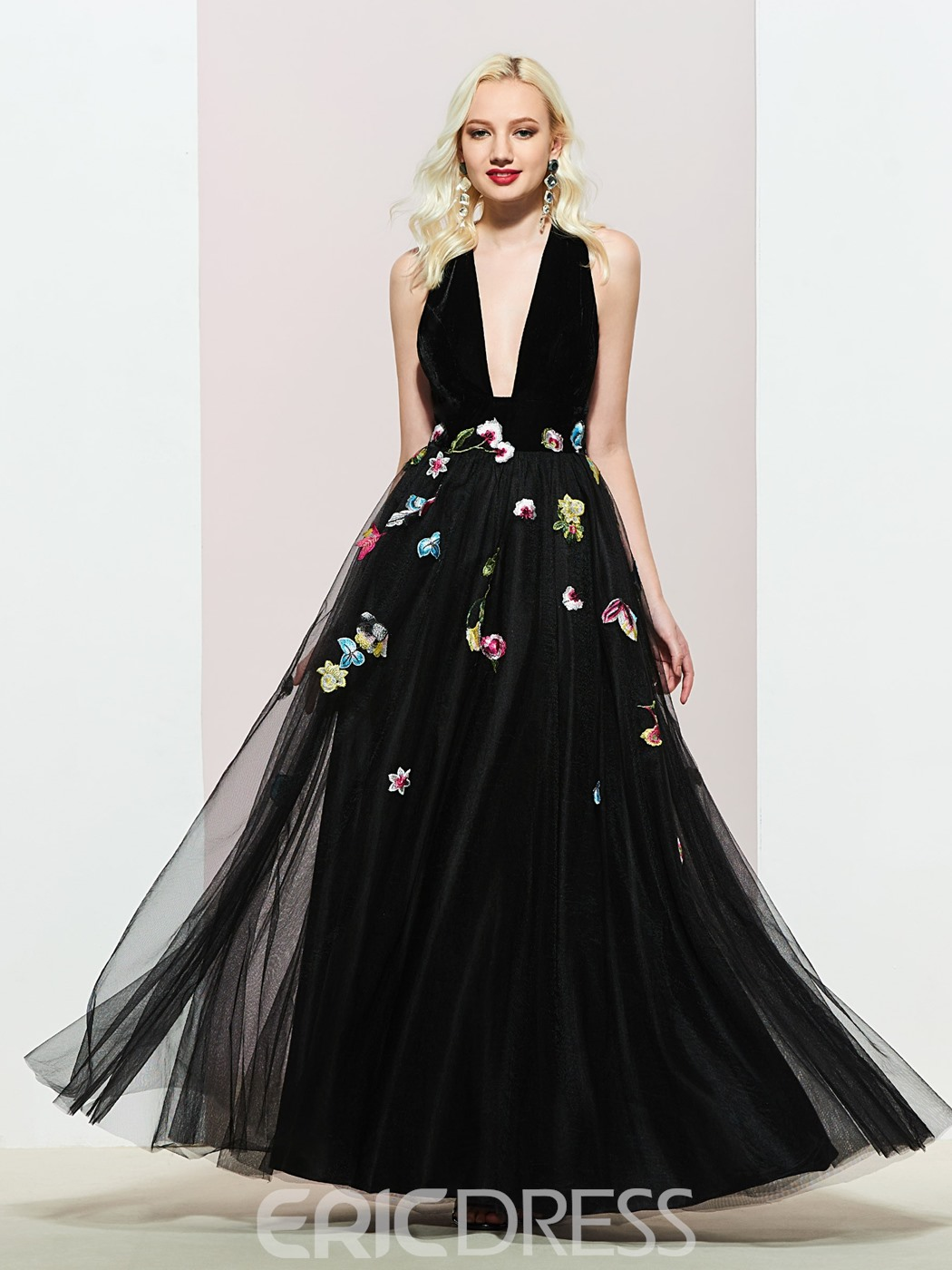 Ericdress A-Line V-Neck Sleeveless Embroidery Evening Dress
