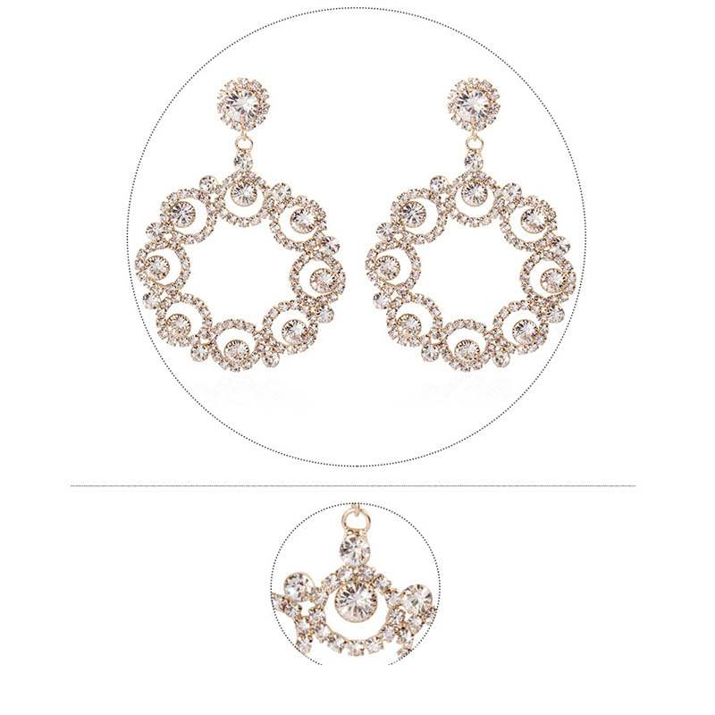 Ericdress Diamante Hoop Alloy Earrings