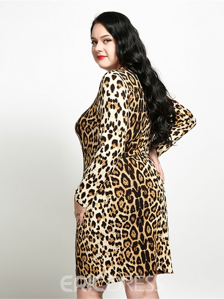 Ericdress Round Neck Long Sleeve Knee-Length Plus Size Going Out Dress