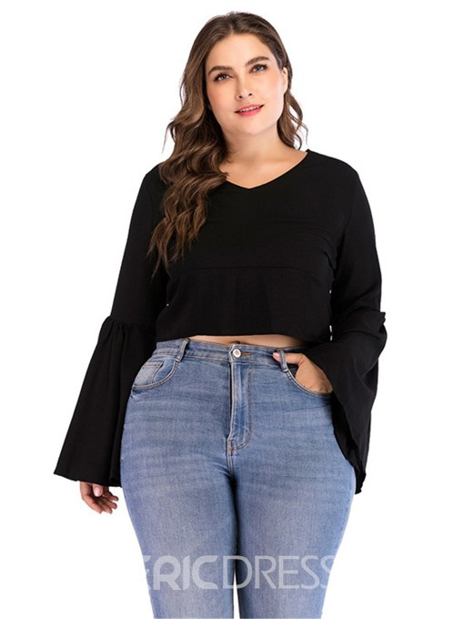 Ericdress Plus Size Long Sleeve Short Round Neck Slim Fall T-Shirt