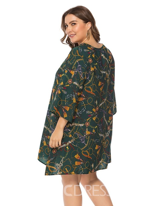 Ericdress Three-Quarter Sleeve Above Knee Round Neck Sweet Plus Size Dress