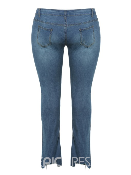 Ericdress Plus Size Plain High Waist Slim Jeans