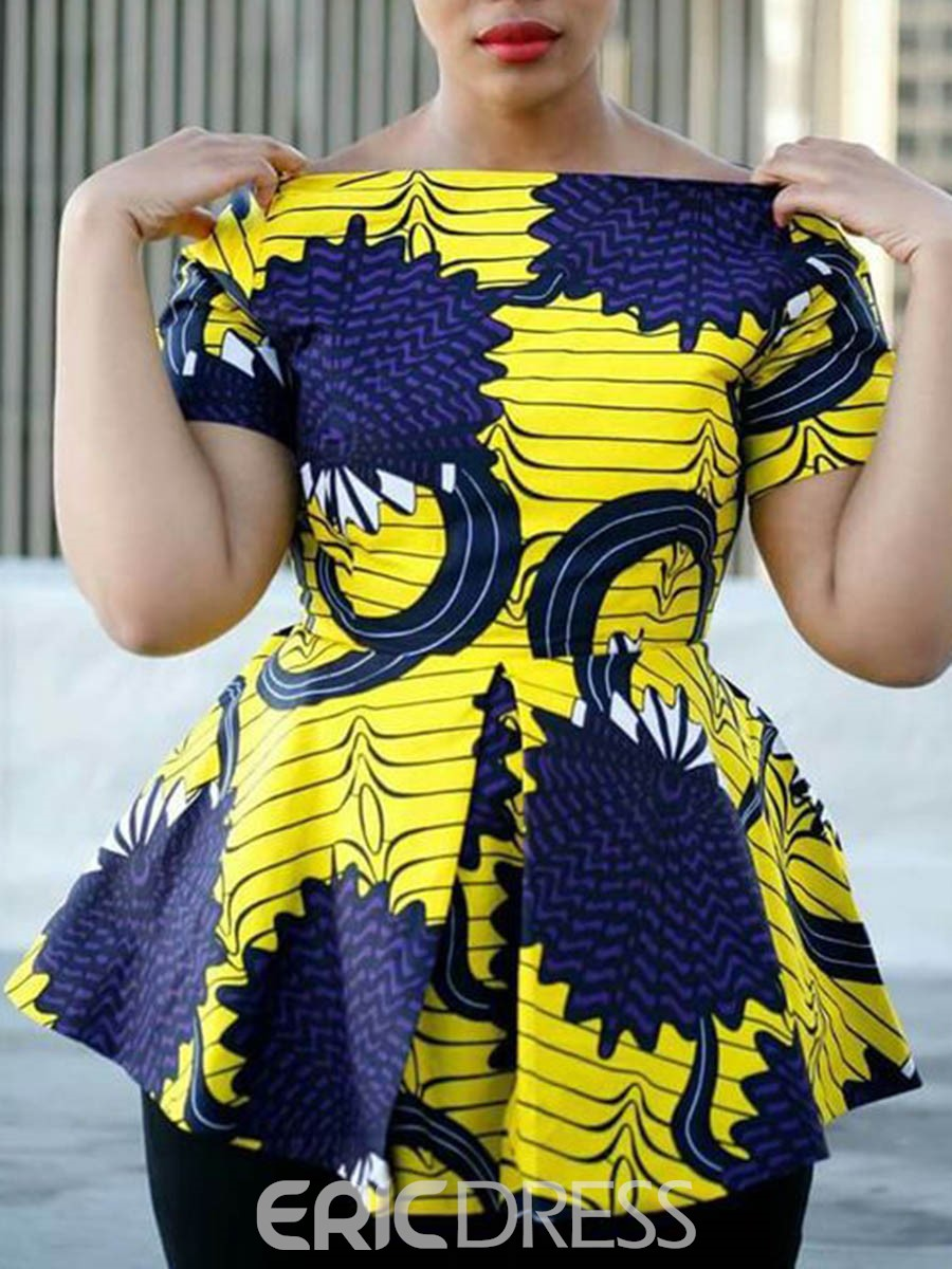 Ericdress African Fashion Print Color Block Short Sleeve Blouse