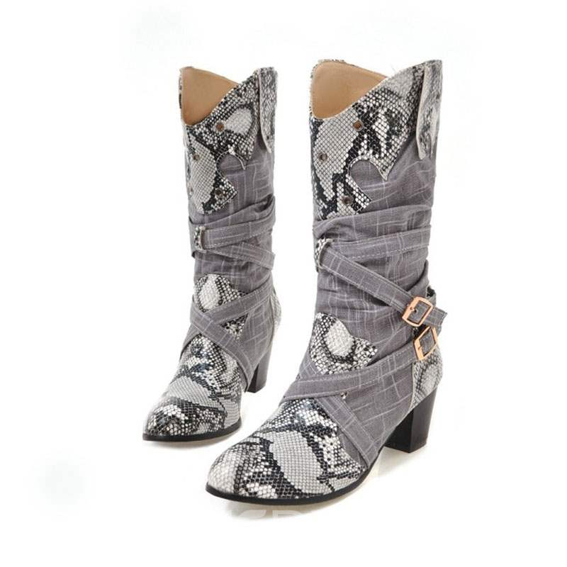 Ericdress Serpentine Slip-On Women's Calf High Boots