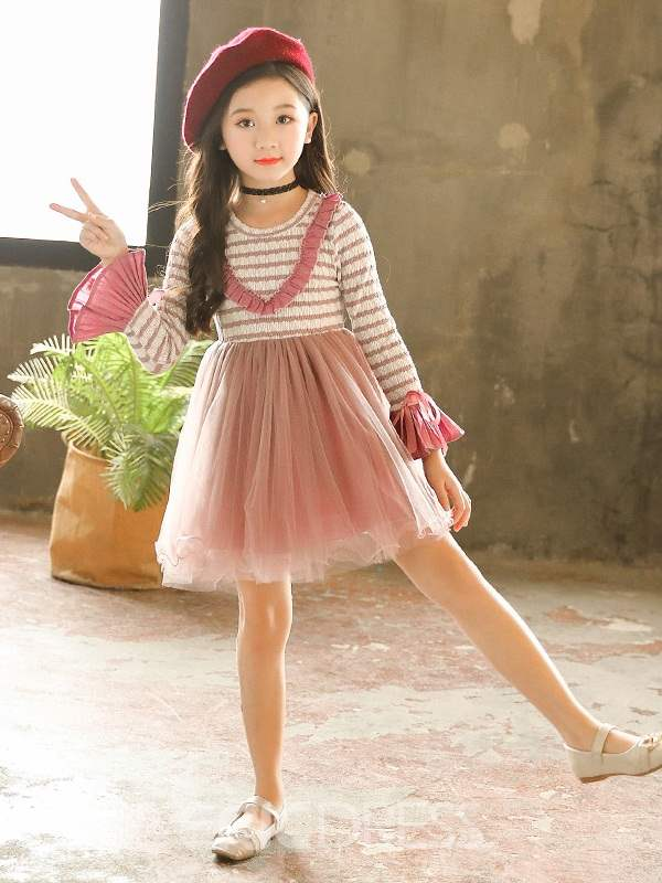 Ericdress Patchwork Pleated Girl's Casual Ball Gown Dresses